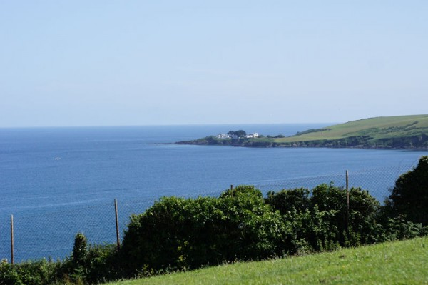 View West along the coast from the cliff East of Mevagissey