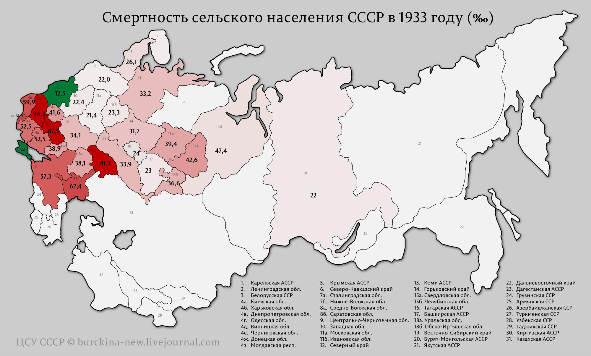 Карта смертности голодного 1933 года