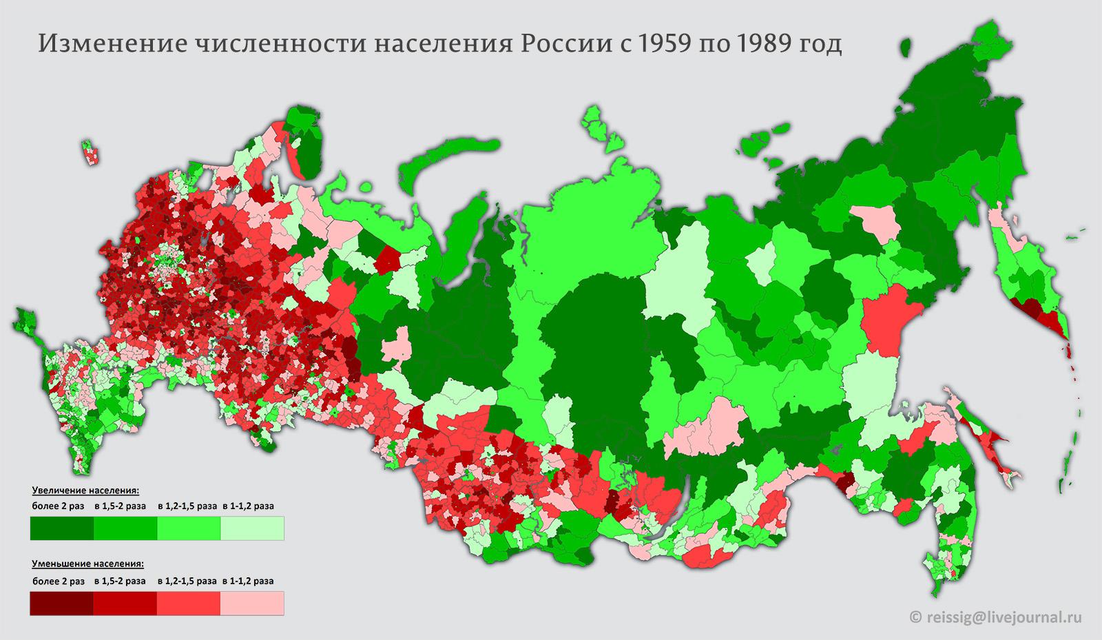 Изменение численности населения с 1959 по 1989 год