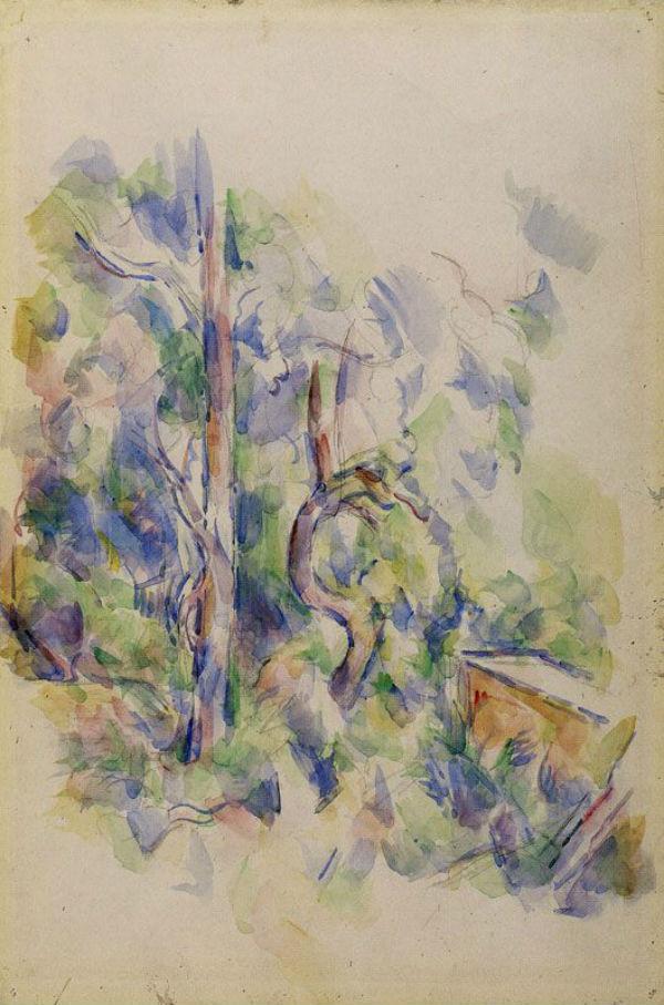 28-Деревья и цистерна в парке Черного Замка - Поль Сезанн 1902.jpg