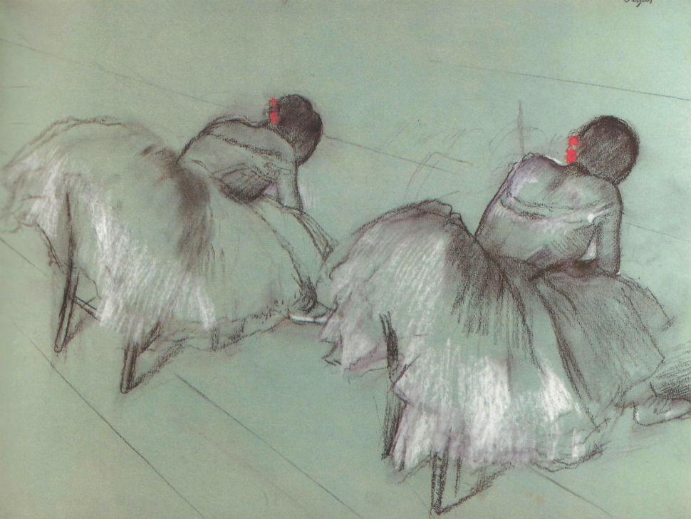 46-Две отдыхающие балерины - Эдгар Дега -  1885.jpg