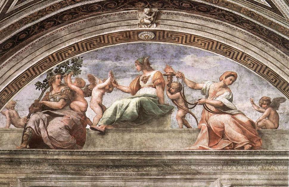 1-Рафаэль Санти - Фреска Добродетели и закон расположенная в одной из 4-х Ватиканских комнат - 1511.jpg