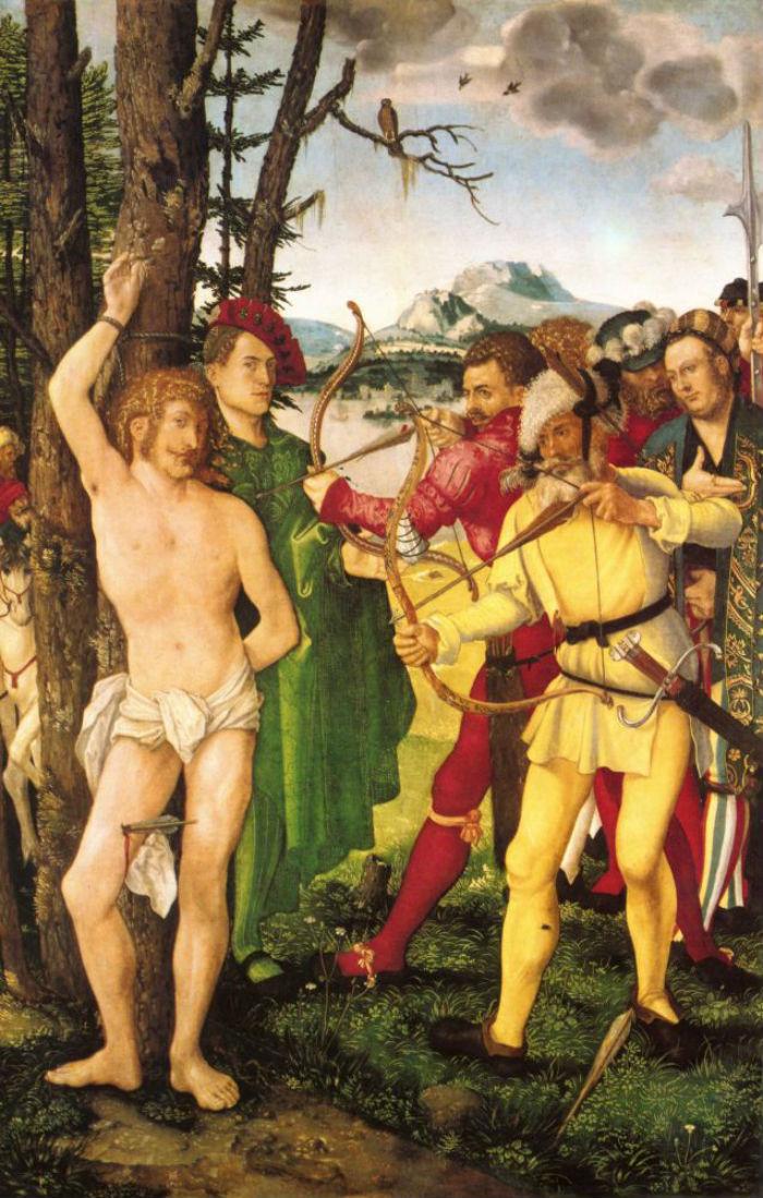 4-Ханс Бальдунг - Алтарь святого Себастьяна -  центральная часть - Мученическая смерть святого Себастьяна.jpg