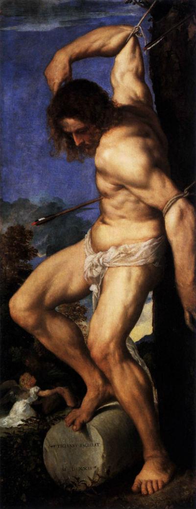 7-Тициан Вечеллио - Алтарь Аверольди (фрагмент -  Святой Себастьян) - 1522.jpg