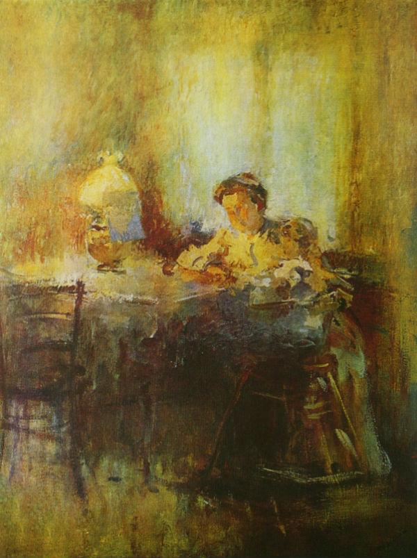 3-Михаил Фёдорович Шемякин - В сумерках у лампы - 1906.jpg