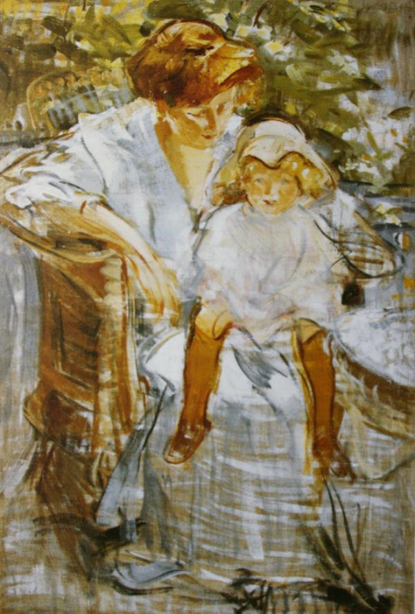 8-Михаил Фёдорович Шемякин - Портрет жены и сына за столом - около 1910.jpg