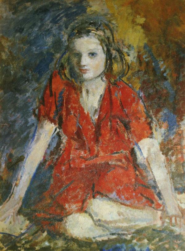 19-Михаил Фёдорович Шемякин - Девочка в красном платье Тамочка - 1936.jpg