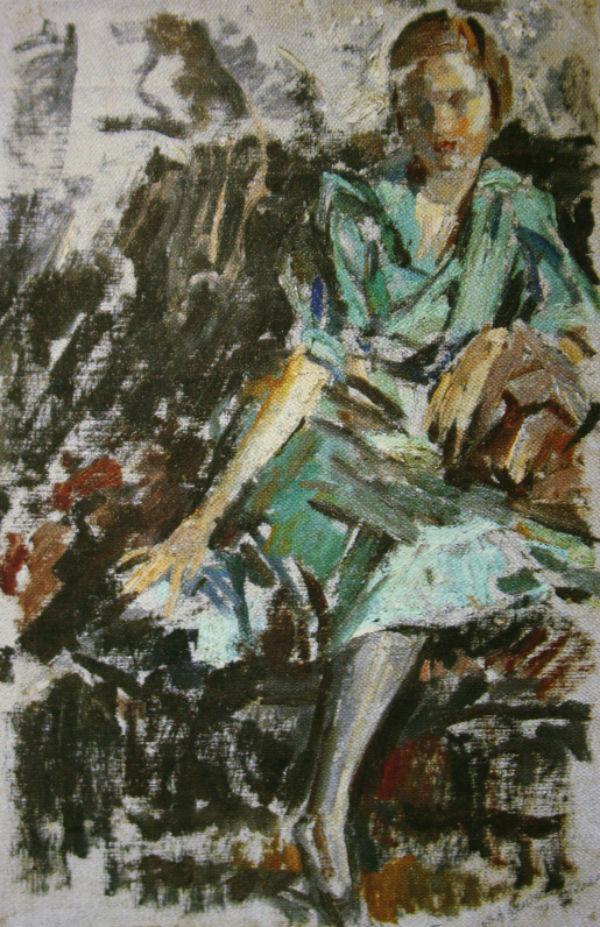 21-Михаил Фёдорович Шемякин - Катя в зелёном платье - 1937.jpg