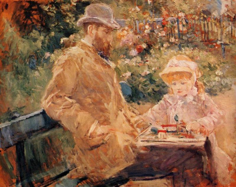 13-Берта Моризо - Эжен Мане с дочерью в Буживале - 1881.jpg