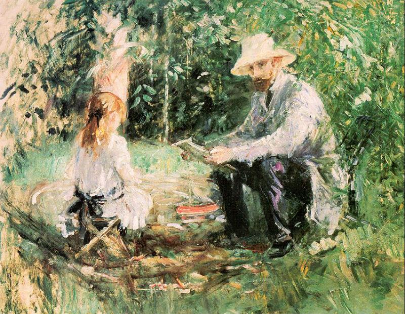 14-Берта Моризо - Эжен Мане с дочерью в саду - 1883.jpg