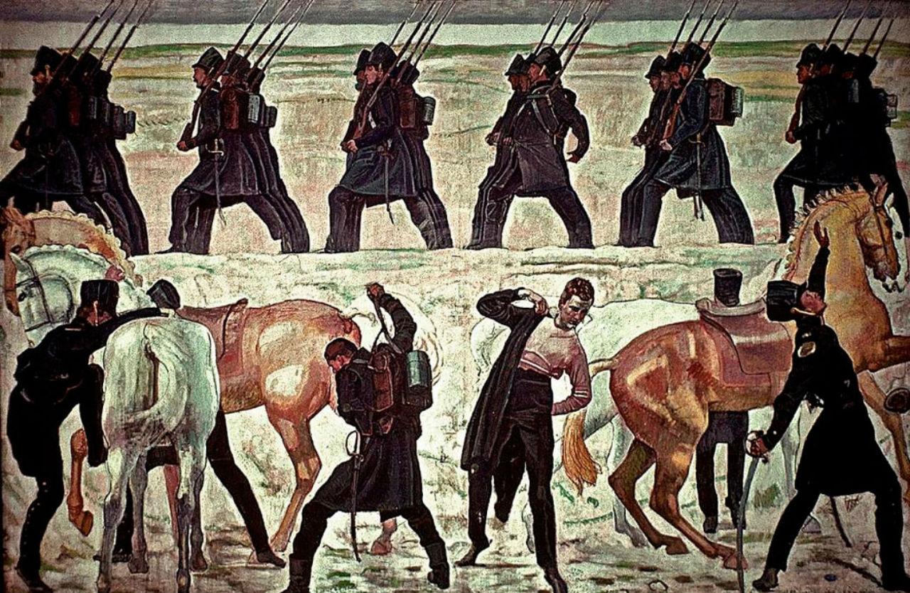 Фердинанд Ходлер - Выступлении частей из йенских студентов во время освободительной войны 1813 года - 1908.jpg