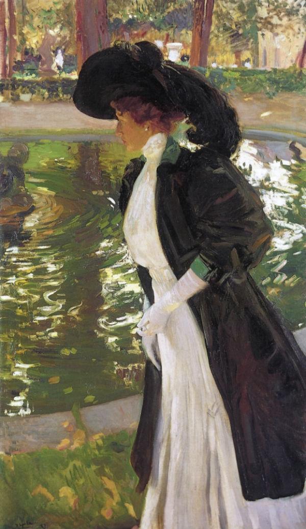 Клотильда прогуливается в садах Ла-Граньи - 1907.jpg