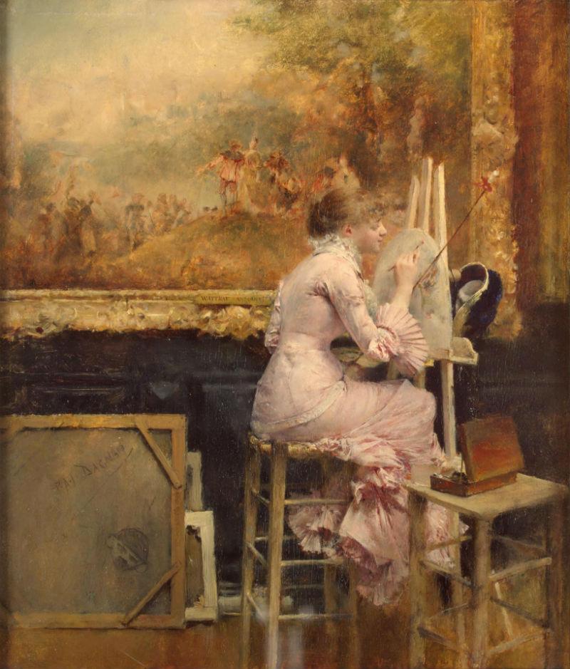 Паскаль Адольф Жан Даньян-Бувре - Художница-акварелистка в Лувре - Эрмитаж.jpg