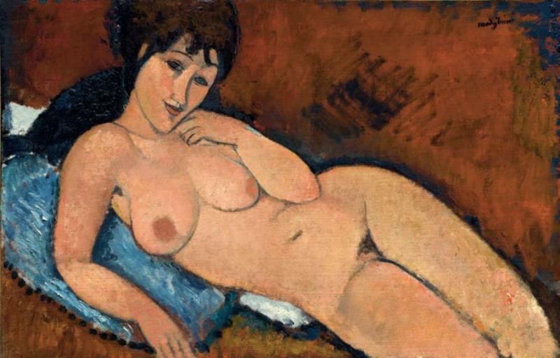 2-Амедео Модильяни - Обнаженная на синей подушке - 1917.jpg