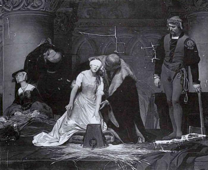Поль Деларош - Казнь Джейн Грей - картина перед реставрацией (1970-е).jpg