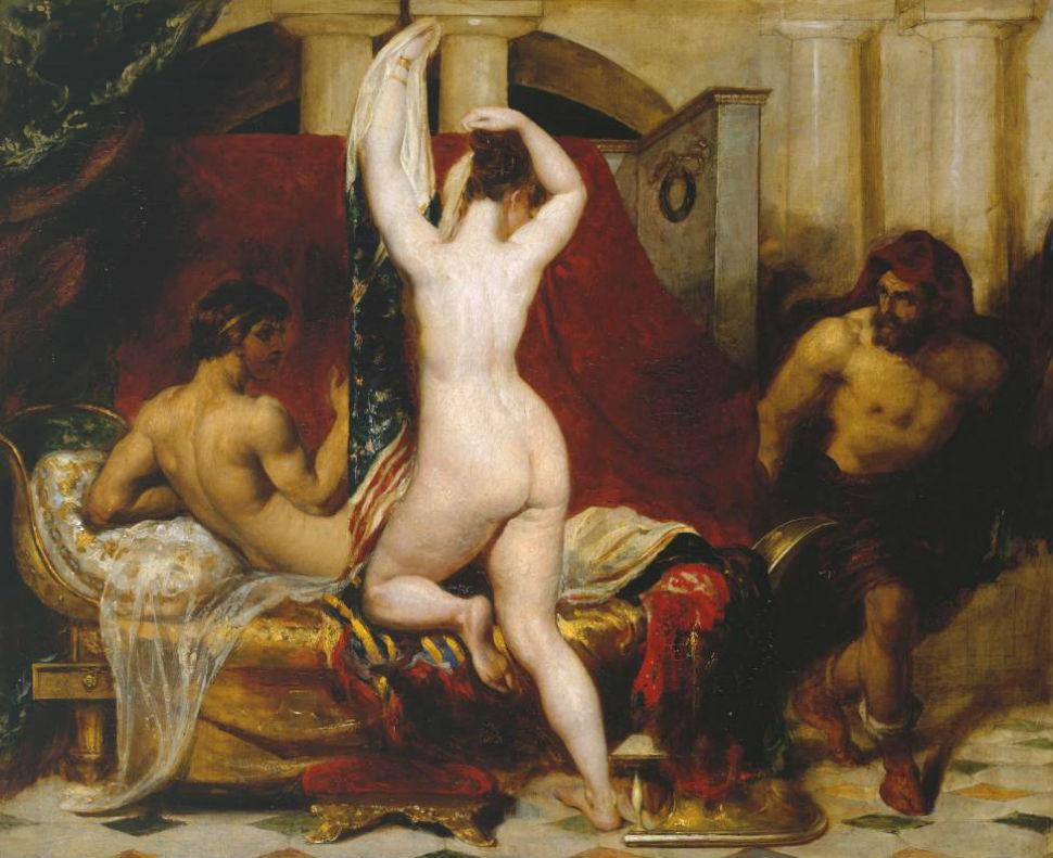 Уильям Этти - Кандавл царь Лидии украдкой показывает свою жену Гигу одному из своих слуг когда она ложится в кровать - 1830.JPG