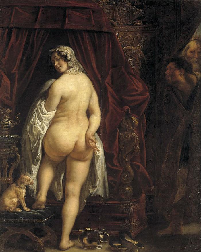 Якоб Йорданс - Царь Лидии Кандавл показывает свою жену Гигу - 1646.jpg