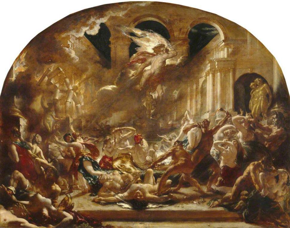 Уильям Этти - Уничтожение ангелом демонов зла и прерывание оргии порочности и несдержанности - 1832.jpg