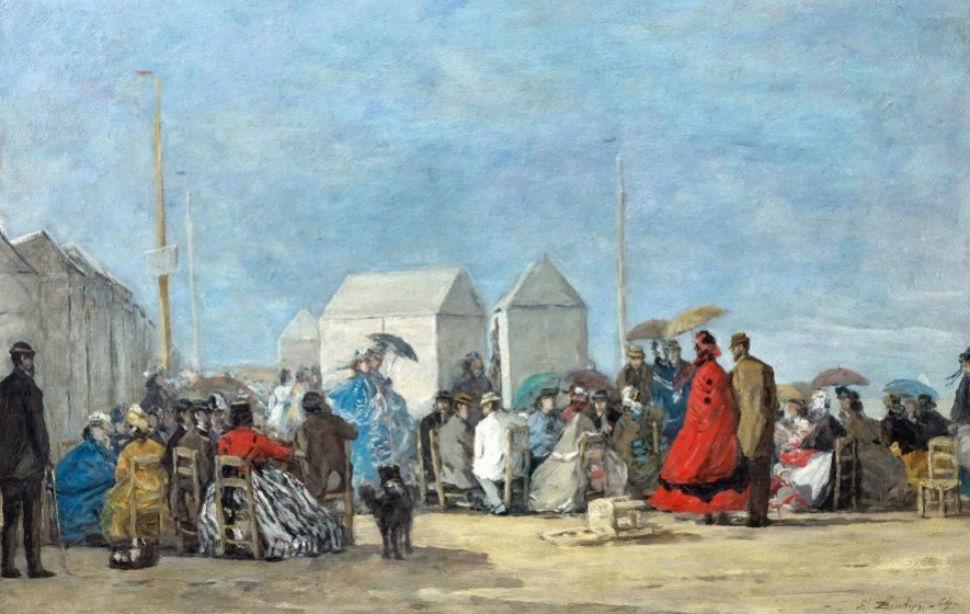 11 - Эжен Буден - Сцена на пляже в Трувиле - 1860-е годы.jpg