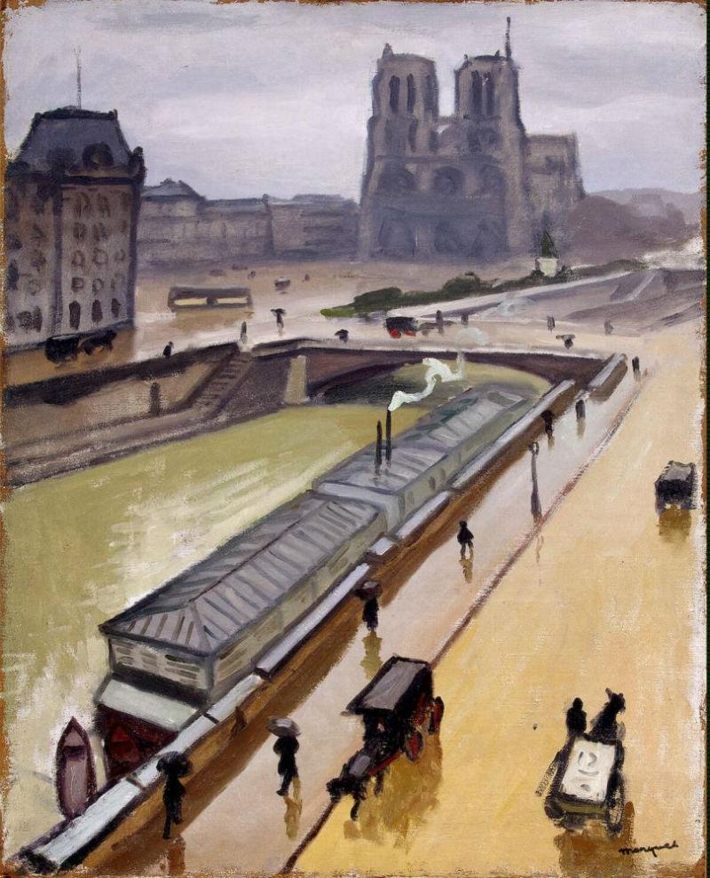 Альбер Марке - Дождливый день в Париже Собор Парижской Богоматери -1910.jpg