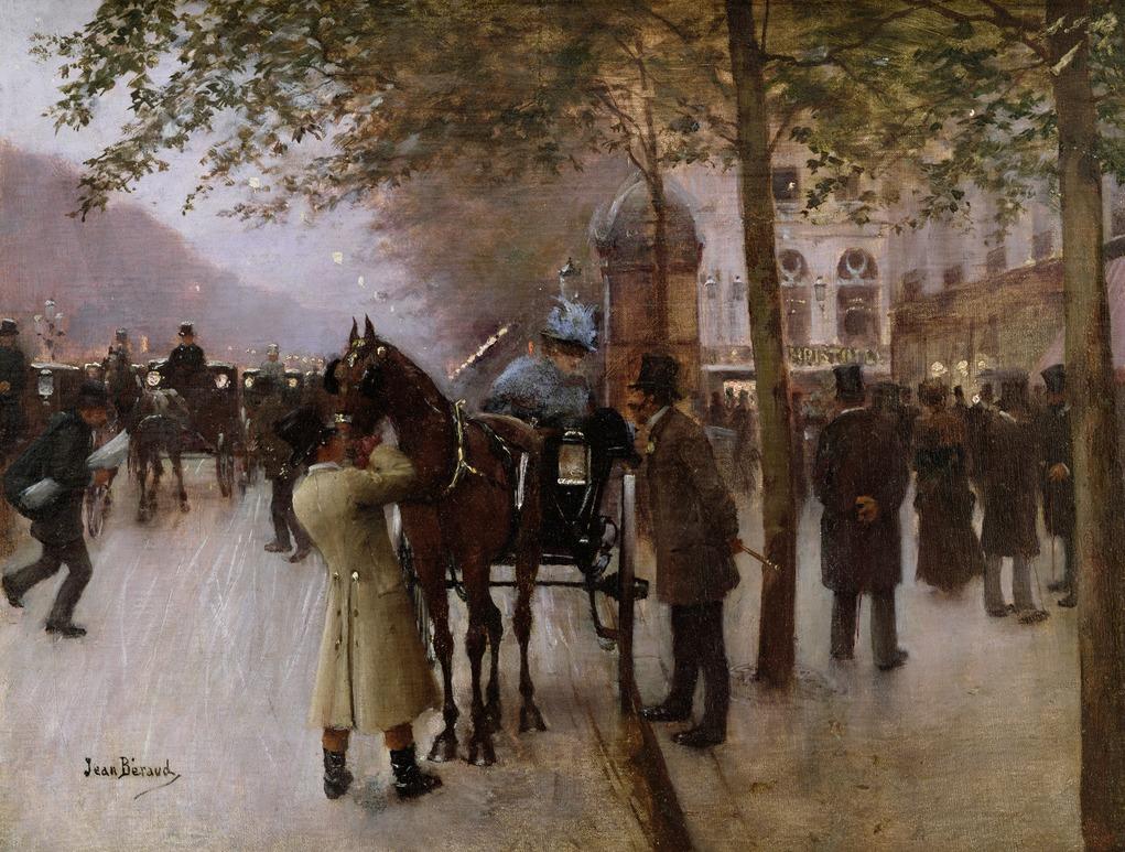 Парижские бульвары вечер перед кафе Наполитэн - Париж музей Карневале.jpg