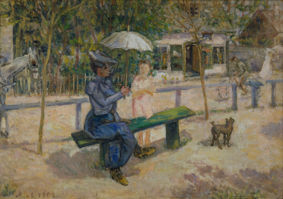 2-Михаил Федорович Ларионов - Женщина на скамейке - 1902.jpg