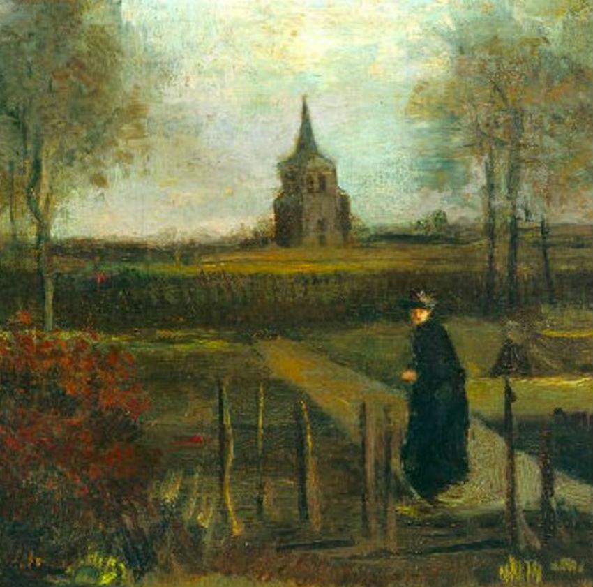 Винсент Ван Гог - Сад у дома приходского священника в Нюэнене - 1884 (фрагмент).jpg