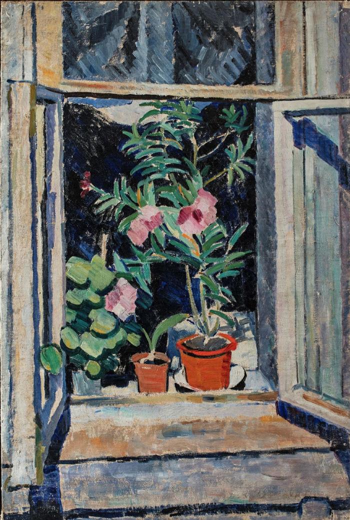 6-Ольга Владимировна Розанова - Цветы на окне - 1910.jpg
