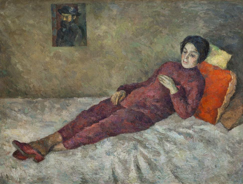 11-Роберт Рафаилович Фальк - Женщина лежащая под картиной Сезанна - 1929.jpg