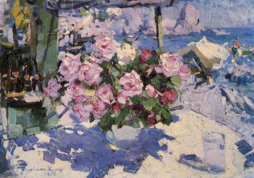 8-Розы. Букет у моря - 1912 - Омский областной художественный музей.jpg