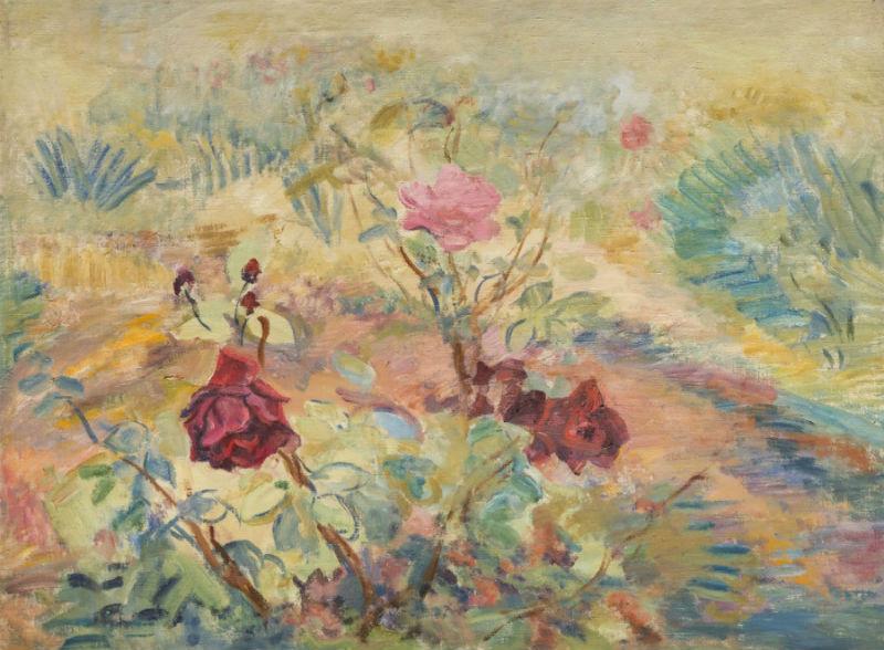 16-Павел Варфоломеевич Кузнецов - Розы в саду - 1940-е годы.jpg