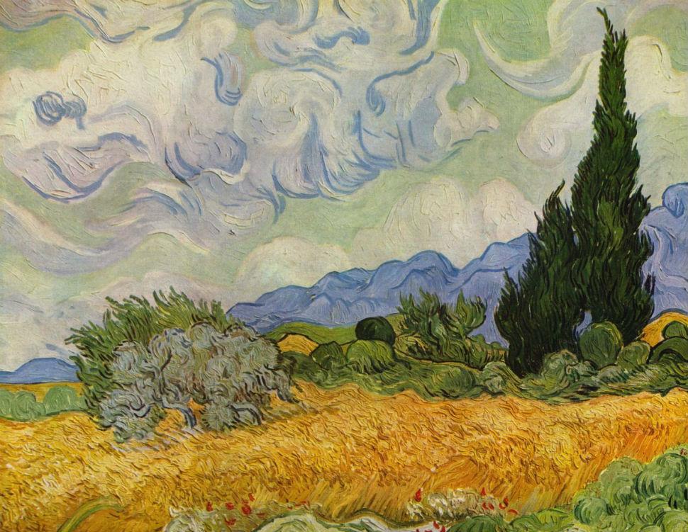 6-Винсент ван Гог -  Пшеничное поле с кипарисами (вариант) - 1889.jpg