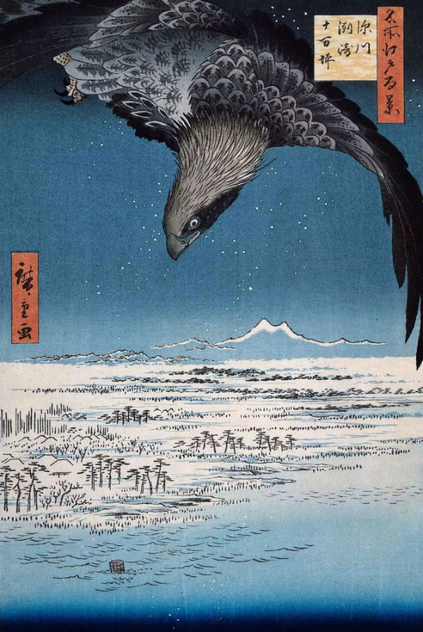5-Утагава Хиросигэ - Парящий орел над Фукагава Сусаки Дзюман-цубо - серия 100 знаменитых видов Эдо - 1857.jpg
