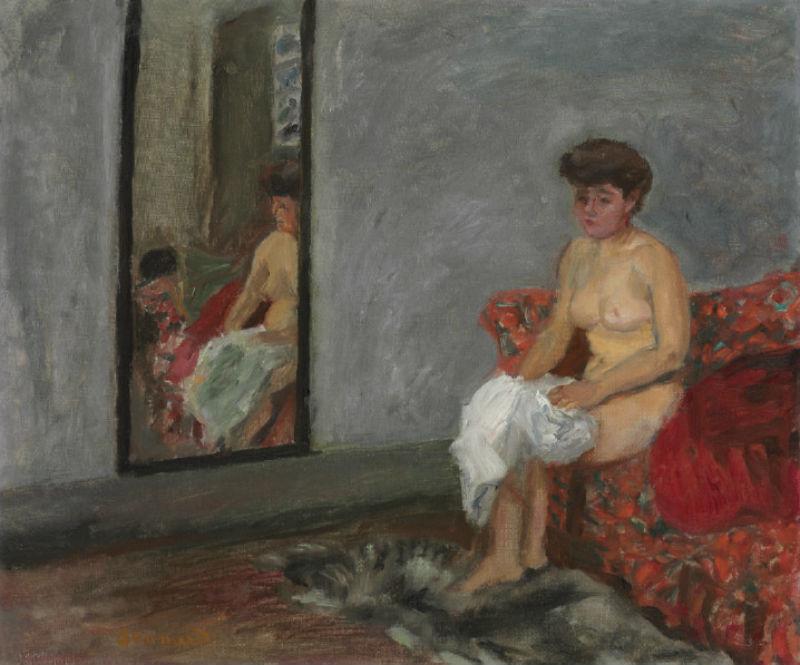 14-Обнаженная сидящая на диване и  отражающаяся в зеркале - 1905.jpg
