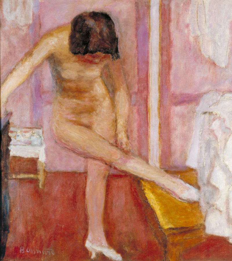 Interior with nude figure by pierre bonnard