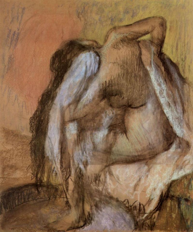Эдгар Дега - Сидящая обнаженная вытирающая шею и спину - 1895.jpg