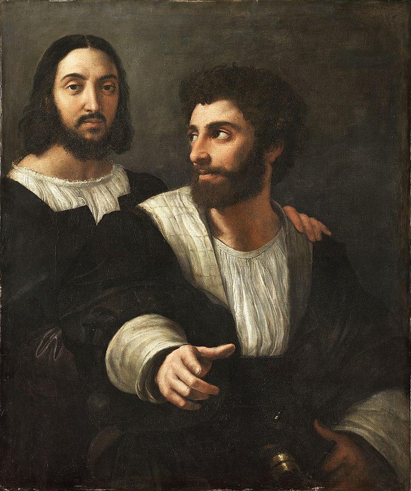 800px-Portrait_de_l'artiste_avec_un_ami,_by_Raffaello_Sanzio,_from_C2RMF_retouched