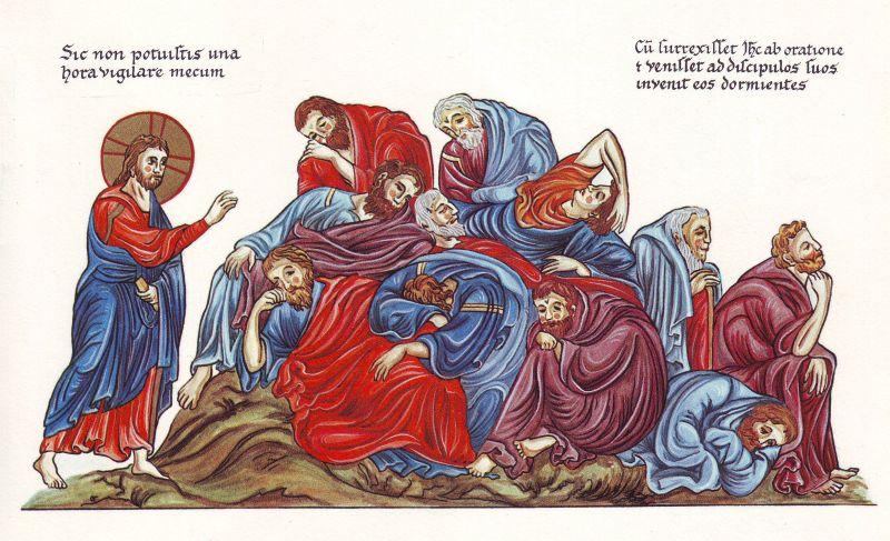 Hortus_Deliciarum,_Jesus_und_die_schlafenden_Apostel_am_Ölberg