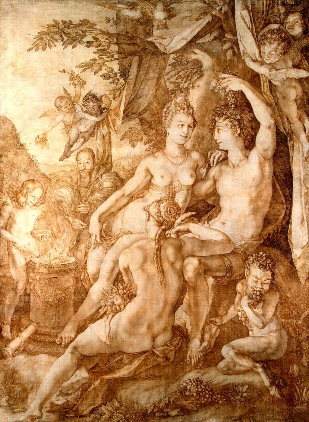 Hendrik_Goltzius_-_Bacchus_Venus_and_Ceres_c1606_(pen_and_brown_ink)