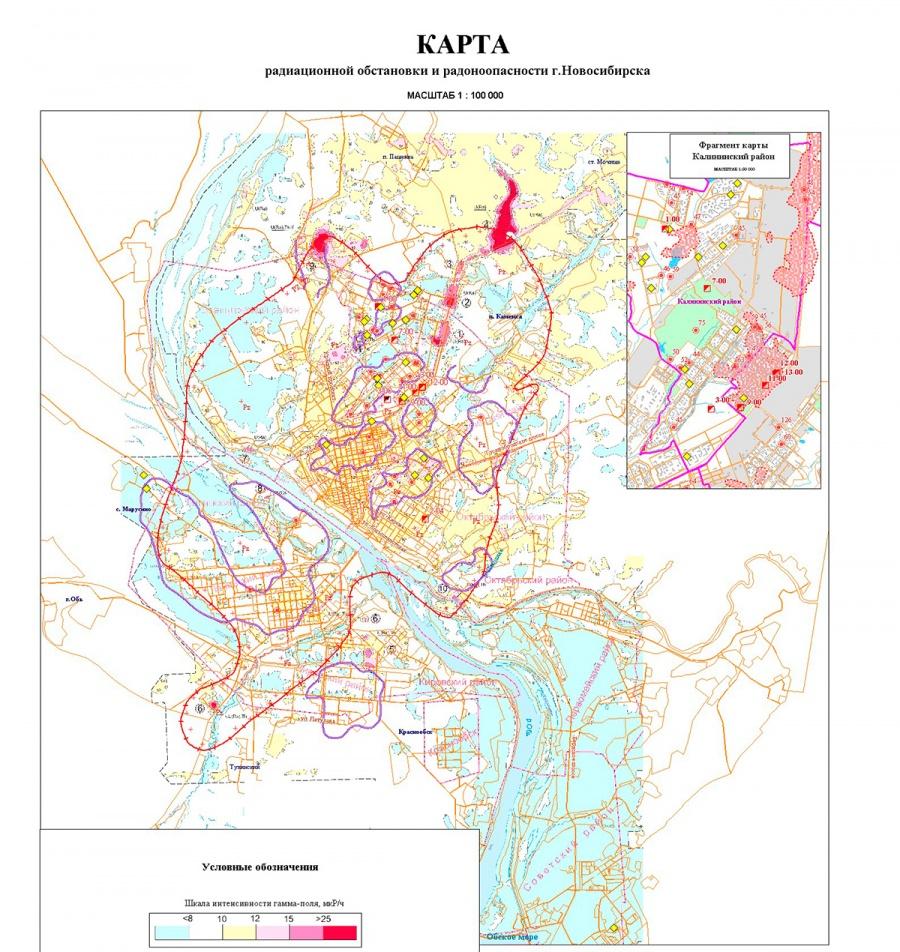 карта радиационной опасности Новосибирск