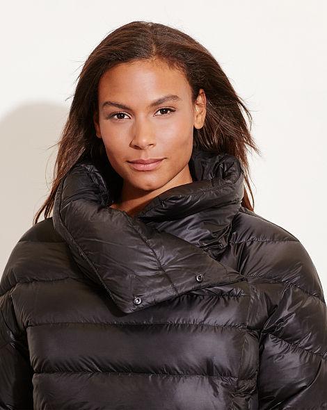 Lauren Clothing Womens Funnelneck Down Coat - Black-Jackets Outerwear-2291_3
