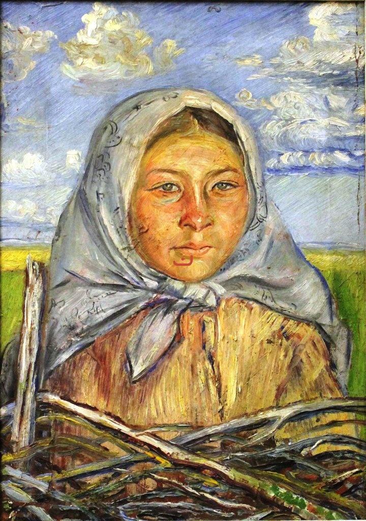 Бурлюк Д.Д, У плетня, 1917