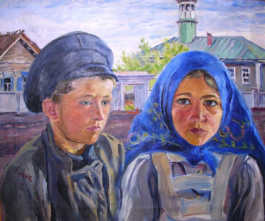 Бурлюк Д.Д. Мальчик с девочкой, 1918