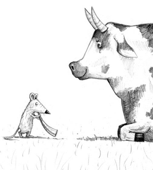 rat speelt hoorn voor koe