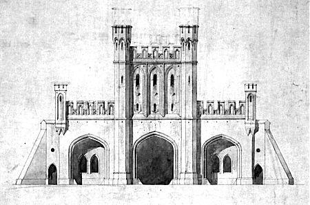 Königstor, Stadtseite. Entwurf Friedrich August Stülers. Kolorierte Handzeichnung, bis 1846