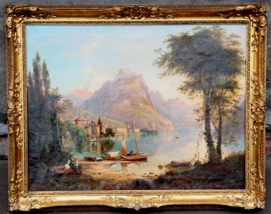 Franz Wilhelm Leuteritz 1817-1902, Blick auf Monte Bré, Luganer See , Mars, 4100,-€