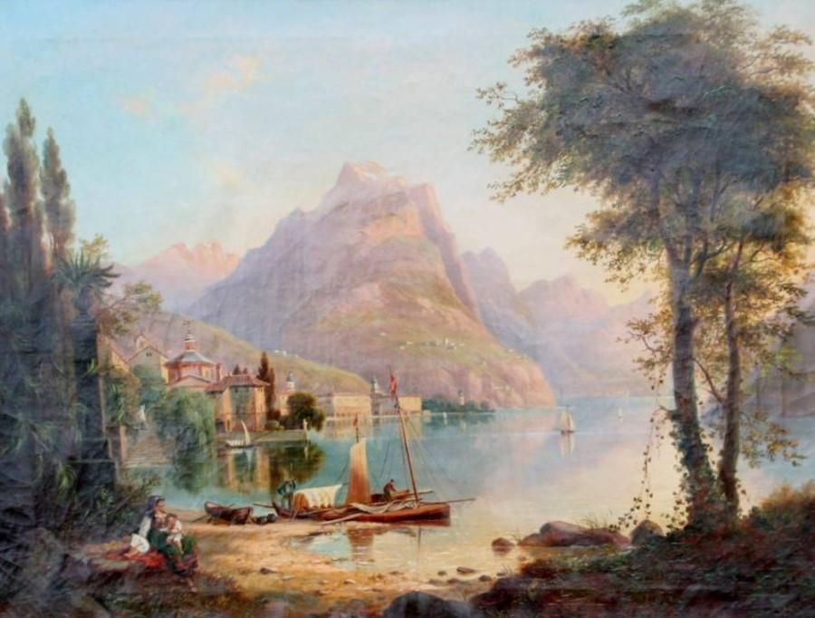 Franz Wilhelm Leuteritz 1817-1902, Blick auf Monte Bré, Luganer See , Mars, dat. 1871, Öl-Lwd, 63 - 82 cm 4100,-€