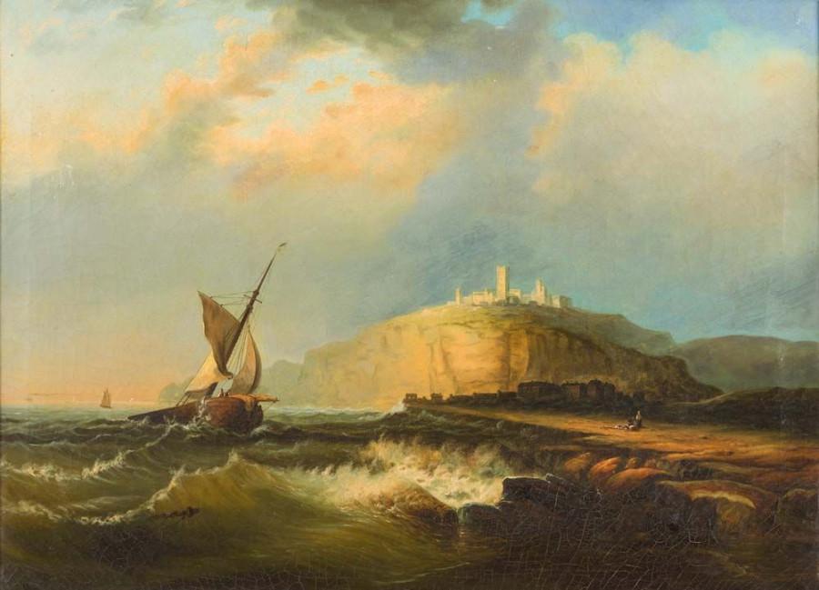 Romantiker, Mitte 19. Jh. Am Canal La Manche mit Ruinen St. Malo, Harg., See vor einer Küstenstadt, Öl auf Leinwand, 67 cm - 90 cm, 2300,-€