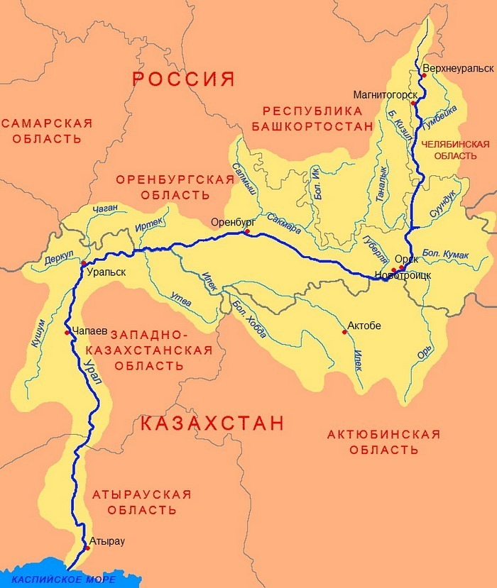карта Бассейна реки Урала-Яика