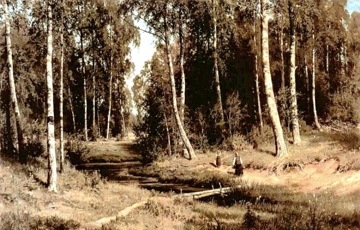 2 Ручей в березовом лесу Шишкин.
